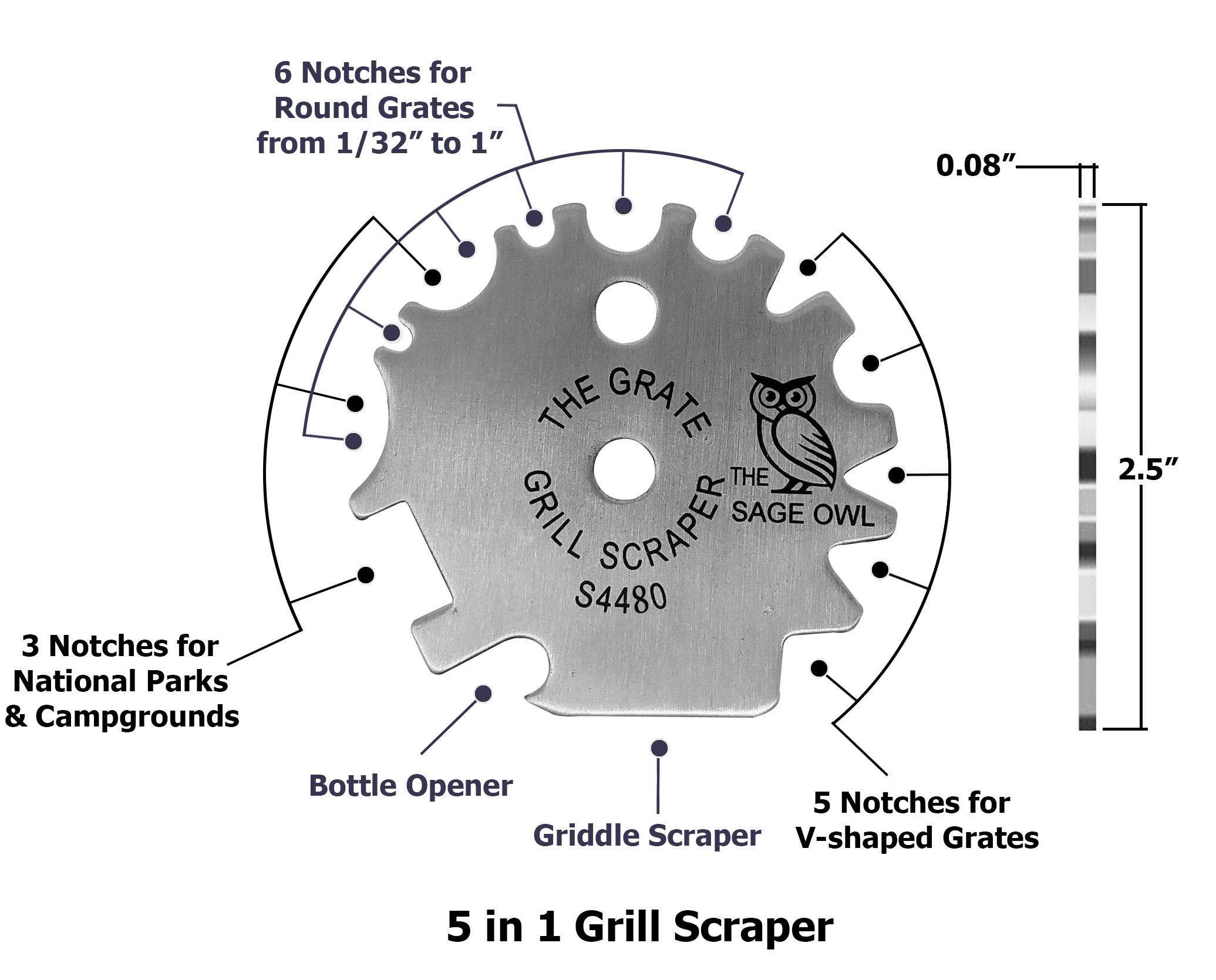 The Grate Grill Scraper - Stainless Steel BBQ Grill Tool - S4480